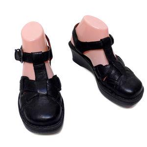 Born Black Leather Platform Sandals T-Strap 8 39